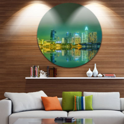 Designart Singapore View from Marina Bay Skyline Photo Circle Metal Wall Art