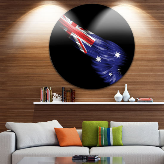 Designart Wing with Australian Flag Large Contemporary Circle Metal Wall Arts