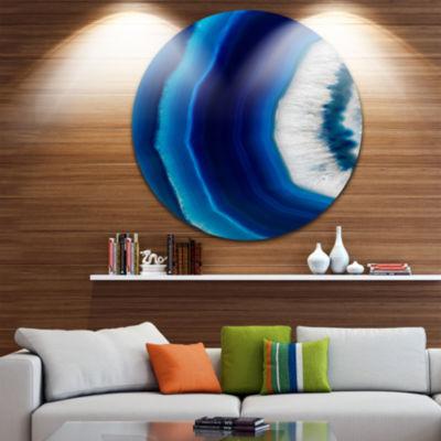 Designart Blue Agate Crystal Abstract Circle MetalWall Art