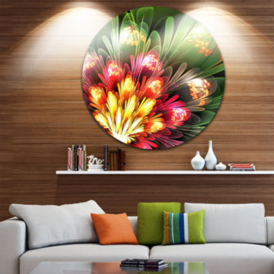 Designart Fractal Flower Red and Green Floral Circle Metal Wall Art