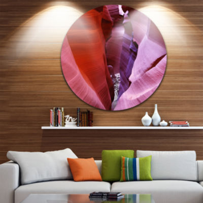 Designart Purple Antelope Canyon View Landscape Photography Circle Metal Wall Art