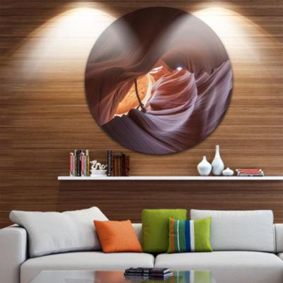 Designart Cave in Antelope Canyon Landscape PhotoCircle Metal Wall Art