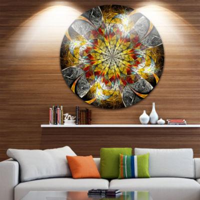 Designart Symmetrical Golden Flower Floral CircleMetal Wall Art
