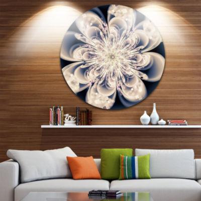 Designart White Fractal Flower Floral Circle MetalWall Art