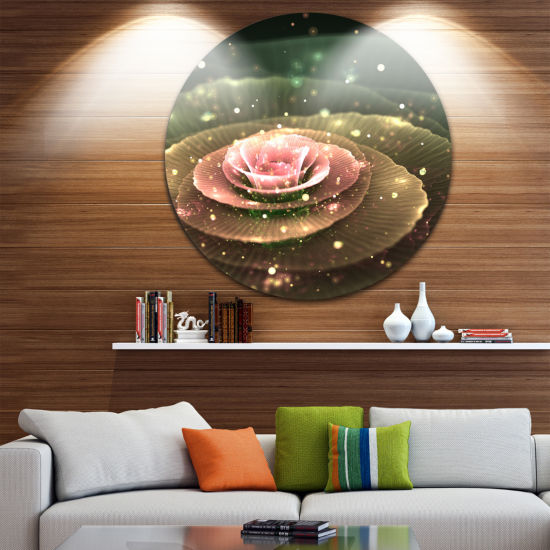 Designart Pink Flower with Water Droplets Floral Circle Metal Wall Art