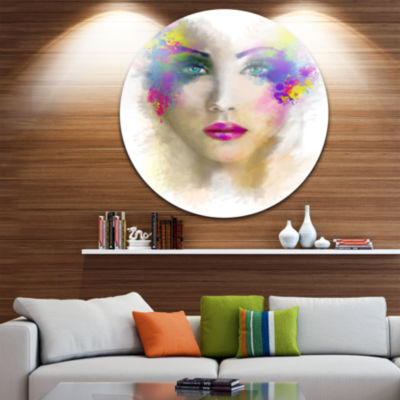 Designart Fantast Woman with Blue Flowers AbstractPortrait Circle Metal Wall Art