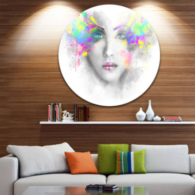 Designart Gray Woman with Green Flowers Abstract Portrait Circle Metal Wall Art