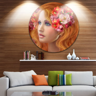 Designart Woman with Autumn Flowers Abstract Portrait Circle Metal Wall Art