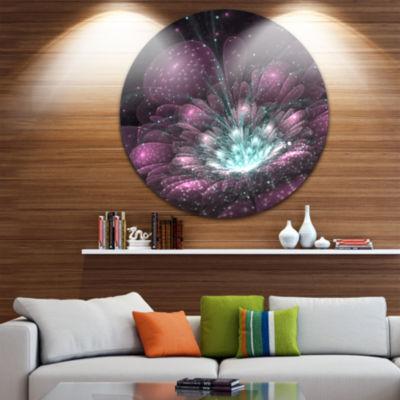 Designart Purple Fractal Flower Floral Circle Metal Wall Art