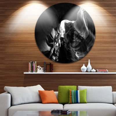 Designart Black and White Antelope Canyon Landscape Photography Circle Metal Wall Art