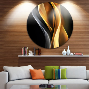 Designart Brown White Light Art Abstract Circle Metal Wall Art
