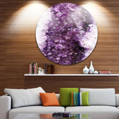 Designart Purple Precious Stones Abstract Circle Metal Wall Art