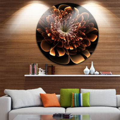 Designart Brown Fractal Flower Floral Circle MetalWall Art
