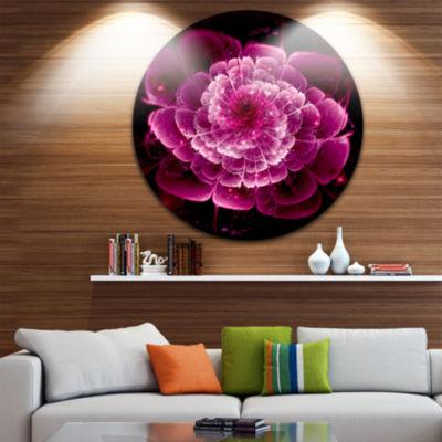 Designart Fractal Flower Dark Pink Floral Circle Metal Wall Art