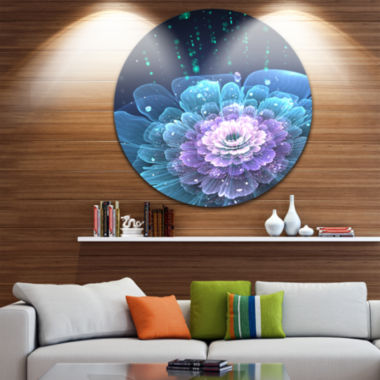 Designart Fractal Flower with Water Drops Floral Circle Metal Wall Art