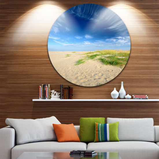 Designart Baltic Sandy Beach Landscape Photo Circle Metal Wall Art