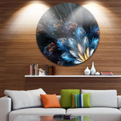 Designart Blue Flower with Golden Details Floral Circle Metal Wall Art