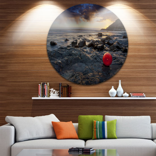 Designart Sunset at Livorno Italy Landscape Photography Circle Metal Wall Art