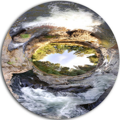 Designart Wild River Tube Landscape Photography Circle Metal Wall Art