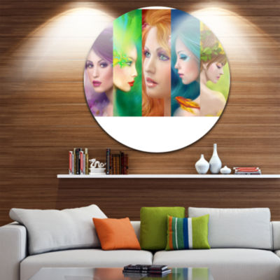 Designart Beautiful Women Face Collage Abstract Portrait Circle Metal Wall Art