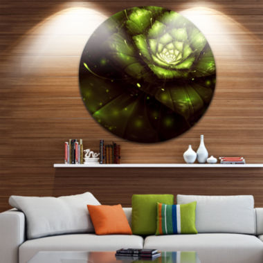 Designart Green Flower with Sun Rays Floral CircleMetal Wall Art