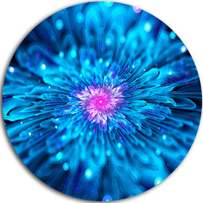 Designart Magical Blue Glowing Flower Floral Circle Metal Wall Art