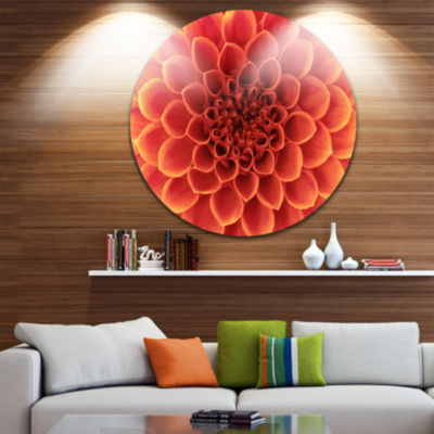 Designart Brown Flower with Dense Petals Floral Photo Circle Metal Wall Art
