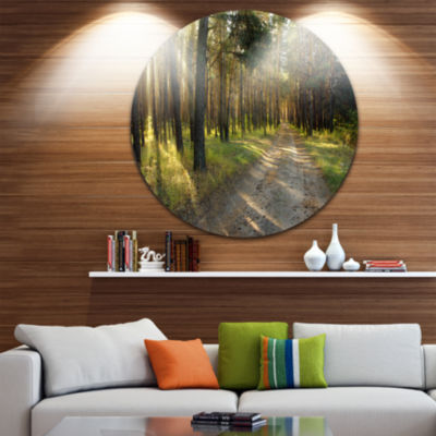 Designart Road Through Green Pine Forest LandscapePhotography Circle Metal Wall Art