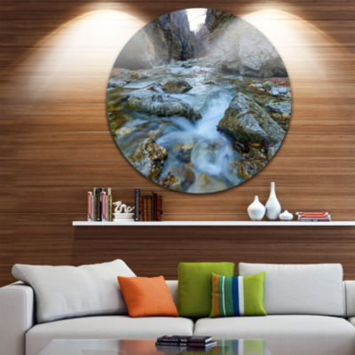 Designart Blue Water in River Landscape Photography Circle Metal Wall Art