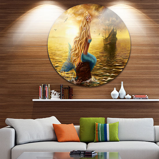 Designart Sea Mermaid with Ghost Ship Seascape Circle Metal Wall Art