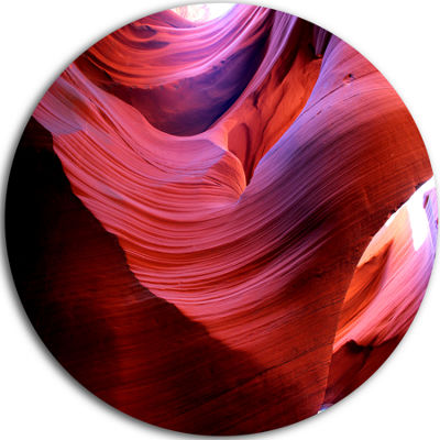 Designart Antelope Canyon Light Rays Landscape Photography Circle Metal Wall Art