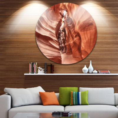 Designart Antelope Canyon High Structures Landscape Photography Circle Metal Wall Art