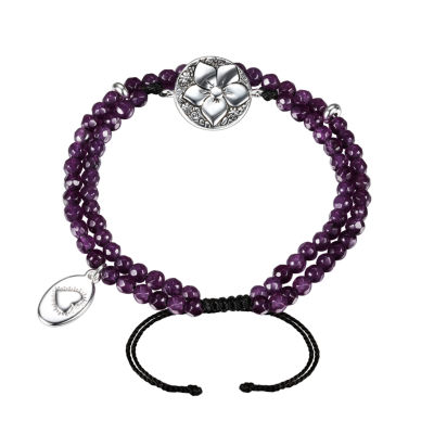 Footnotes Footnotes Purple Silver Tone Beaded Bracelet