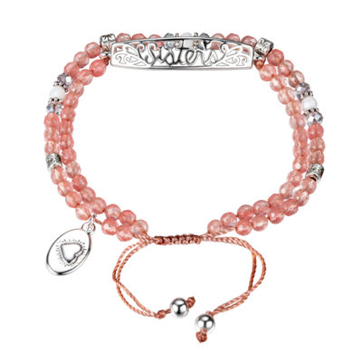 Footnotes Pink Silver Tone Beaded Bracelet