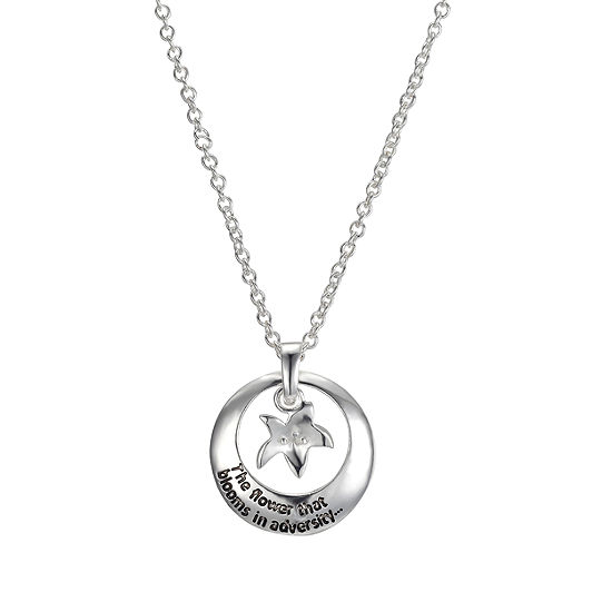 Disney Womens Pure Silver Over Brass Flower Pendant Necklace