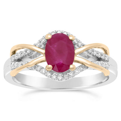 Womens 1/6 CT. T.W. Lead Glass-Filled Red Ruby 10K Two Tone Gold Oval Cocktail Ring