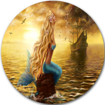 Designart Sea Mermaid with Ghost Ship Seascape Circle Metal Wall Art