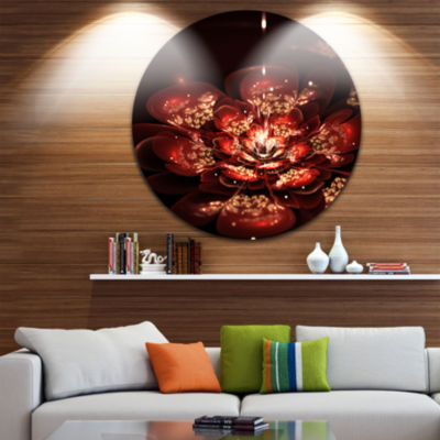 Designart Red Flowers in Fractal Pattern Floral Circle Metal Wall Art
