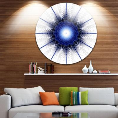 Designart Blue Digital Flower Art Floral Circle Metal Wall Art