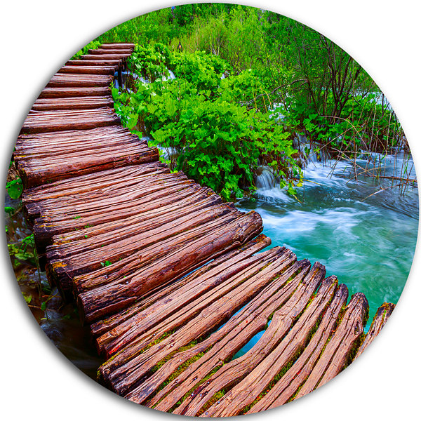 Designart Wooden Bridge in National Park LandscapePhotography Circle Metal Wall Art