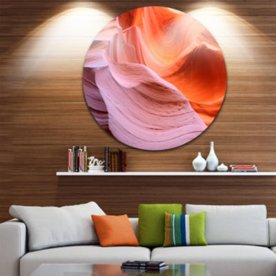 Designart Color Layers in Antelope Canyon Landscape Photography Circle Metal Wall Art