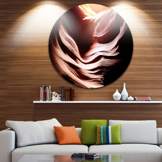 Designart Antelope Canyon in Brown Shade LandscapePhotography Circle Metal Wall Art
