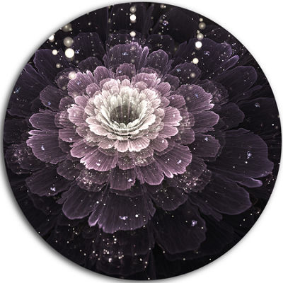 Designart Black Flower with Silver Details FloralCircle Metal Wall Art