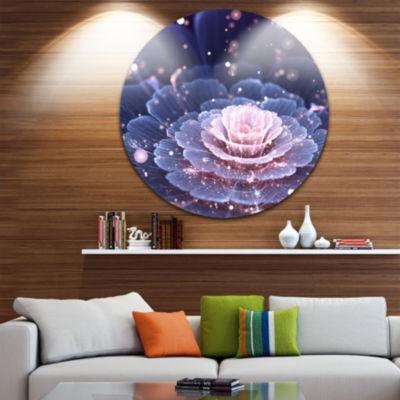 Designart Fractal Flower Pink and Gray Floral Circle Metal Wall Art
