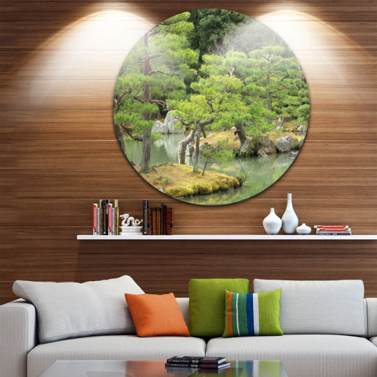 Designart Japanese Garden in Early Autumn Landscape Photography Circle Metal Wall Art