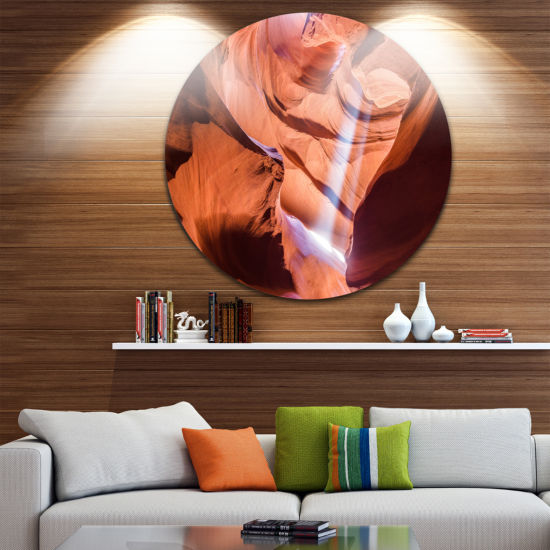 Designart Light to Antelope Canyon Landscape Photography Circle Metal Wall Art