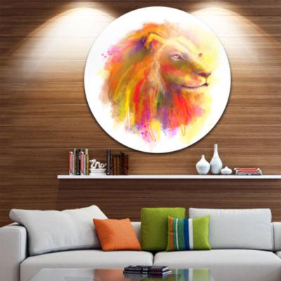 Designart Lion with Colorful Mane Animal Circle Metal Wall Art