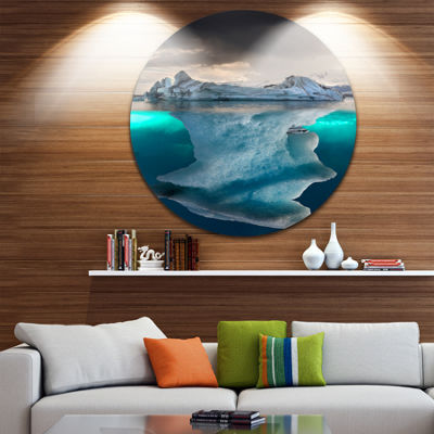 Designart Large Iceberg in Sea Seascape Photography Circle Metal Wall Art
