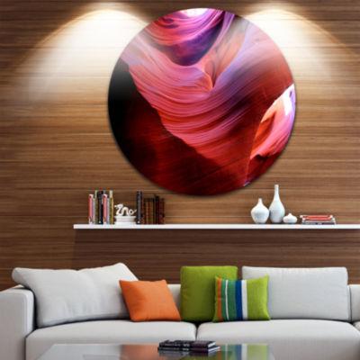 Designart Antelope Canyon Light Rays Landscape Photography Circle Metal Wall Art
