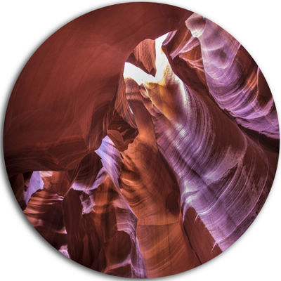 Designart Light in Antelope Canyon Landscape PhotoCircle Metal Wall Art